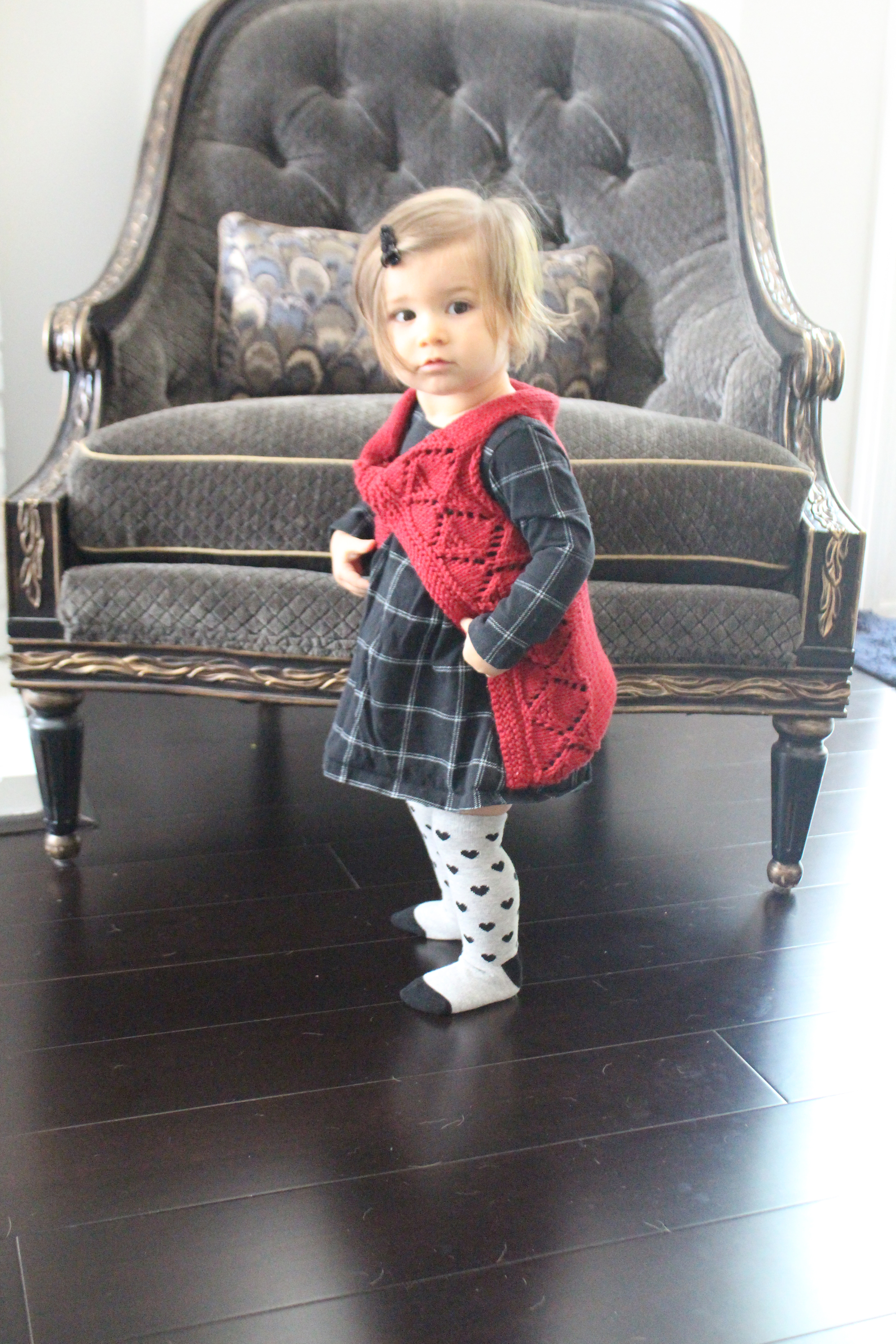 Cute Baby Girl in knit Shadow Diamonds Sweater Vest