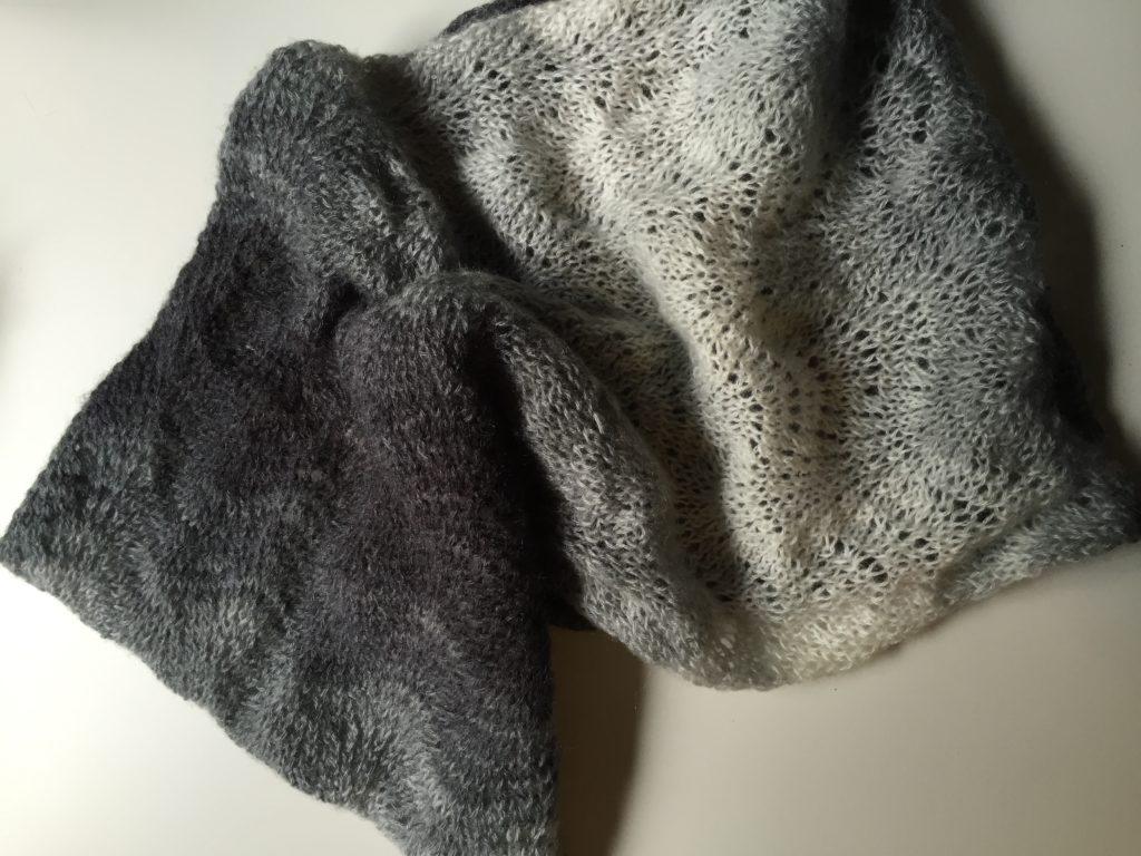 Hand Knit Ombre fan lace infinity scarf
