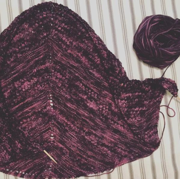 Reyna Shawl hand knit shawl in progress