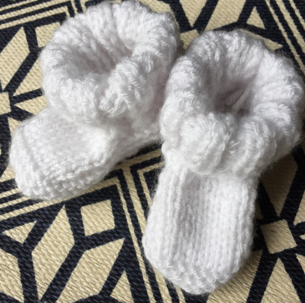 hand knit heirloom, baby booties