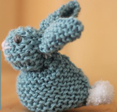 Knit garter bunny stuffed animal