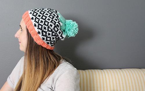 Kayleigh Kirkland hand knit Diamonds Slouchy Hat Pattern